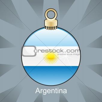 argentina flag in christmas bulb shape
