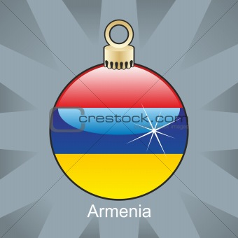 armenia flag in christmas bulb shape