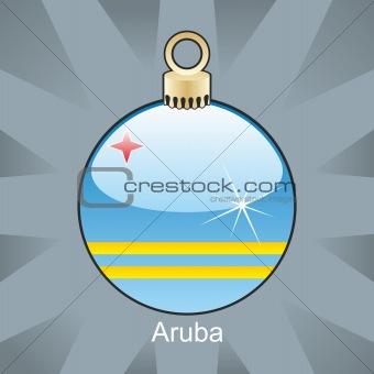 aruba flag in christmas bulb shape
