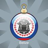 belize flag in christmas bulb shape