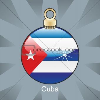 cuba flag in christmas bulb shape