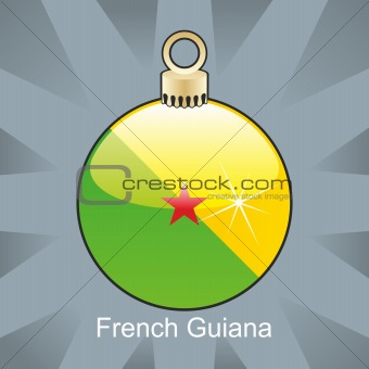 french guyana flag in christmas bulb shape