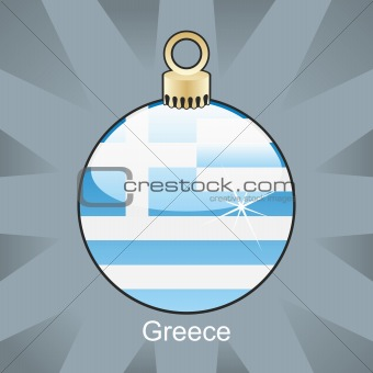 greece flag in christmas bulb shape