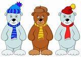 Teddy bears in winter costume