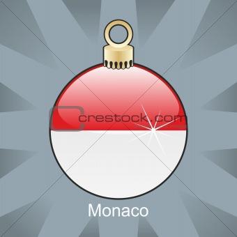 monaco flag in christmas bulb shape