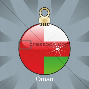 oman flag in christmas bulb shape