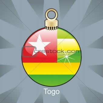 togo flag in christmas bulb shape
