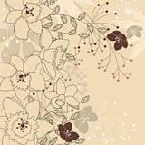Stylish floral light beige background