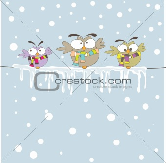 Three owl on the rope. Vector illustration