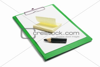 Clipboard with Notepad and Pencil