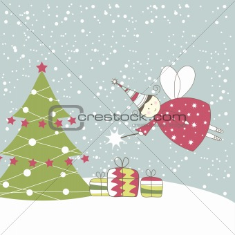 Christmas card with angel. Vector illustration