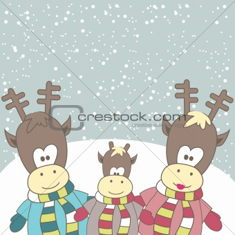Christmas card with Reindeer. Vector illustration