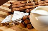 gingerbread, nuts, milk and cinnamon