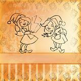 Elves girl card. Retro style.