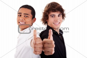 two young man of different colors, with thumb up, isolated on white, studio shot