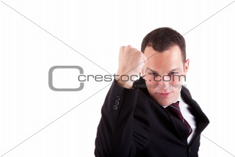 business man with arm raised in victory sign, isolated on white background. Studio shot