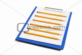 Clipboard with Papers and Pencils