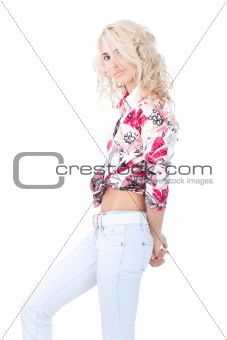 Blond model wearing a color shirt