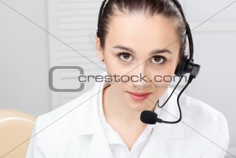 woman with headset over white background