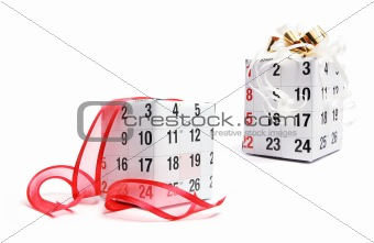 Boxes Wrapped with Calendar Page