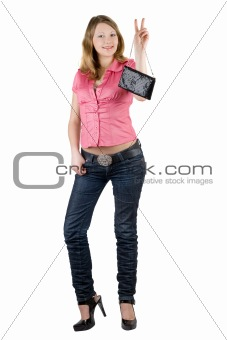 Beautiful smiling girl with a handbag. Isolated on white