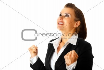 Excited modern business woman  rejoicing her success