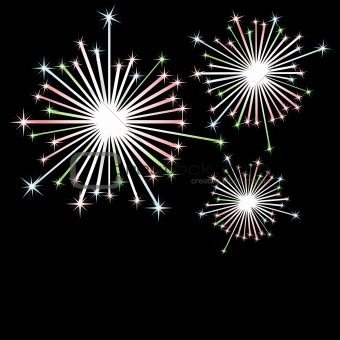 Firework in honour of Independence Day. Vector Illustration