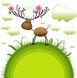 Spring reindeer . Vector Illustration
