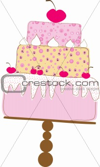 Tiered Wedding Cake With Love. Vector Illustration