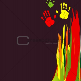 Abstract background with color hands. Vector illustration
