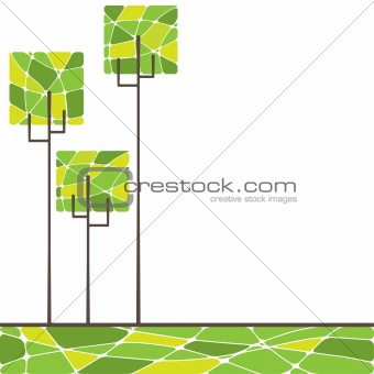 card design with stylized trees and text. vector illustration 	card design with stylized trees. vector illustration