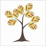 REtro colorful tree. Vector illustration