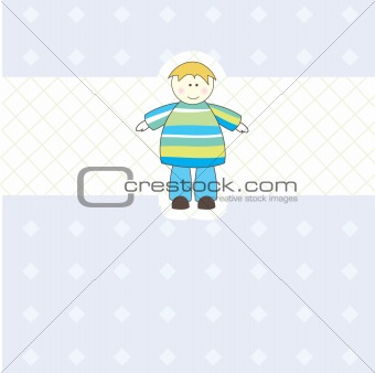 Baby boy arrival card.Vector illustration