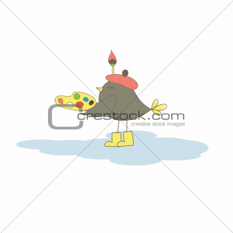 Card with artist bird. Vector illustration