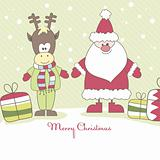 Santa, Reindeer and gift. Vector illustration