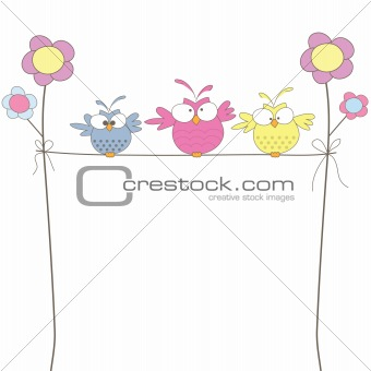 Three owls on the rope. Vector illustration