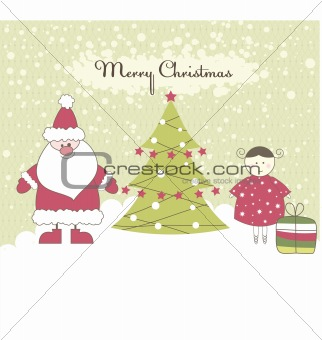 Card with Santa and Girl. Vector illustration