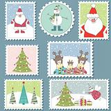 Large Set of Christmas stamps.Vector illustration