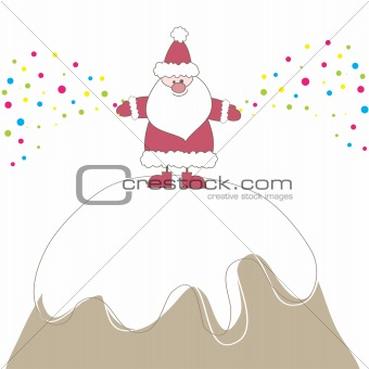 Christmas card with Santa. Vector illustration