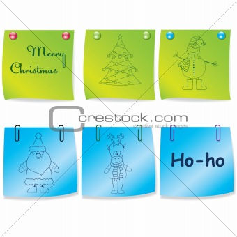 Set of colorful note paper.Vector illustration