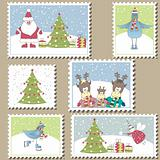 Christmas Postage stamps.Vector illustration