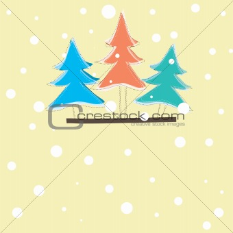 christmas card with tree . vector illustration