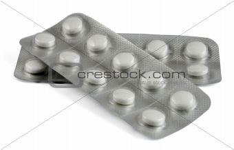 Blisters of medication isolated on white