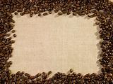 Cofee beans on sack