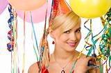 smiling girl in party with balloons