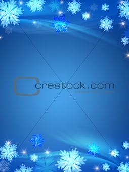 crystal snowflakes blue background