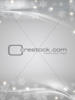 crystal snowflakes grey background