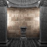 stone columns and pedestal