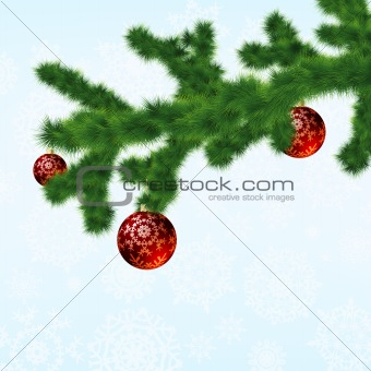 Christmas-tree and decoration ball. EPS 8