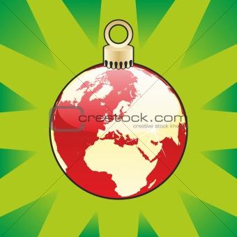 christmas bulb with world globe layout